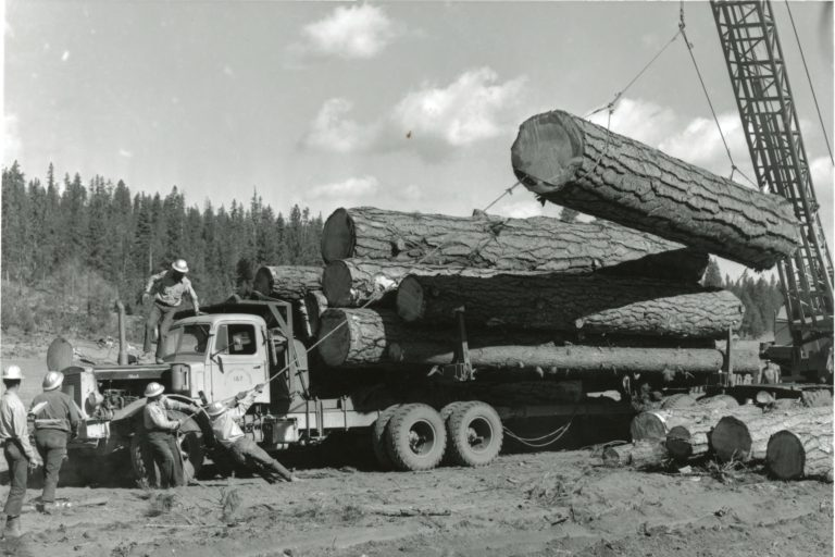Crane Moving Lumber Off of a Logging Truck With Rope and Five Men's Help Black and White Image