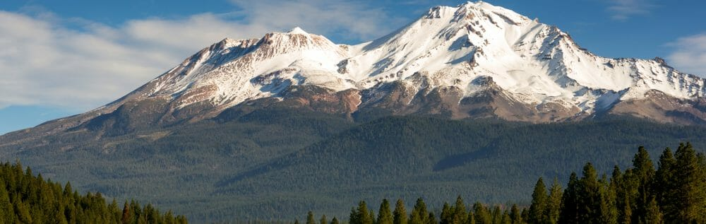 Snow Capped Mountains Behind Green Forest Land