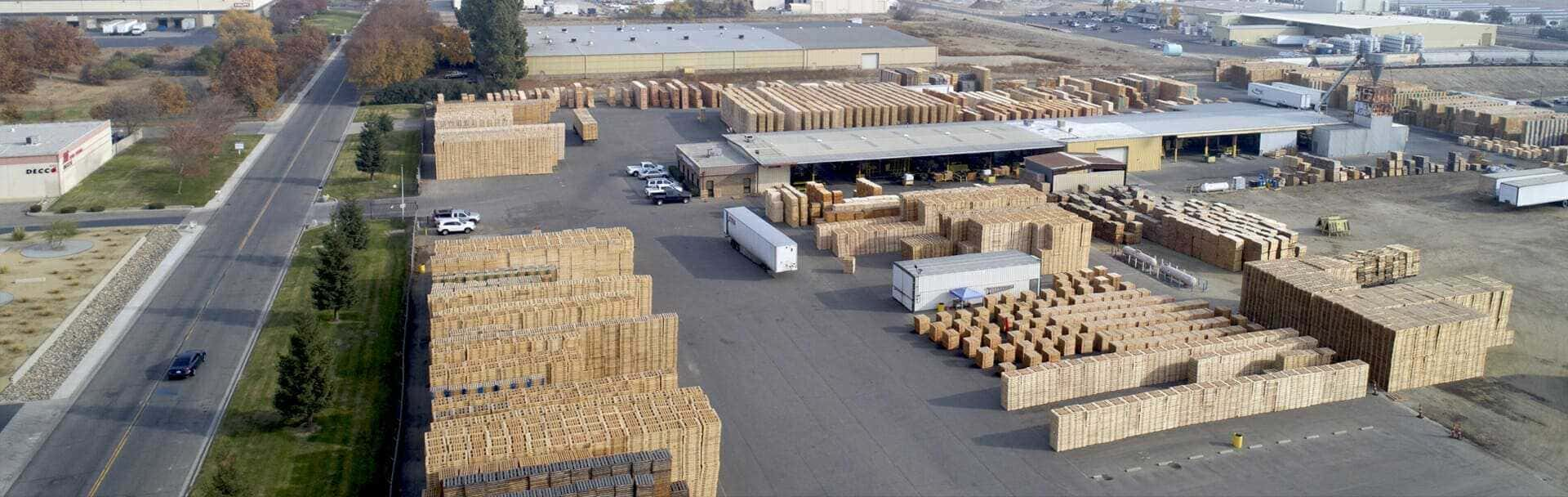 Pallets Stacked in Outdoor Warehouse Lot