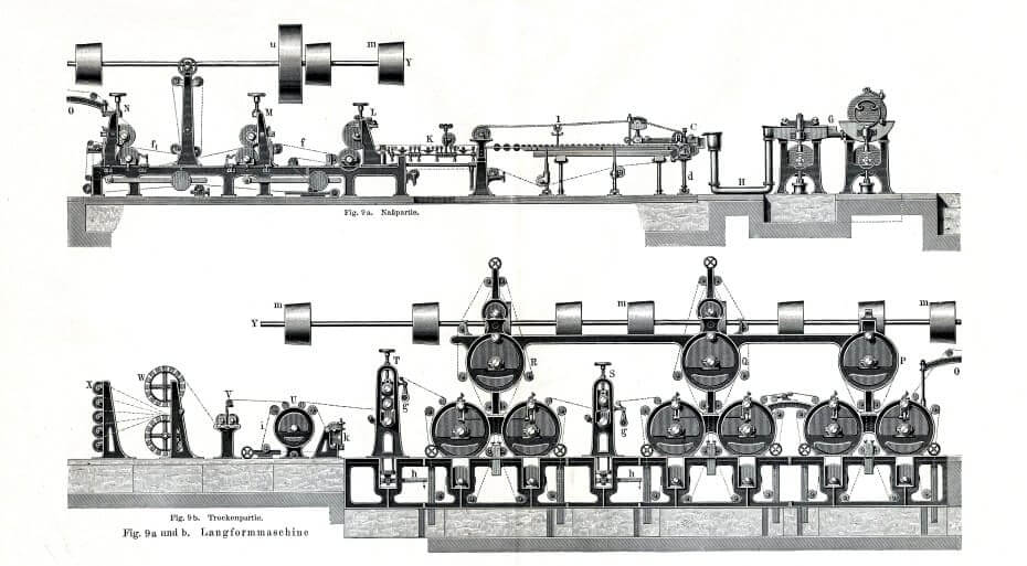 Paper Mill Illustration in Black and White