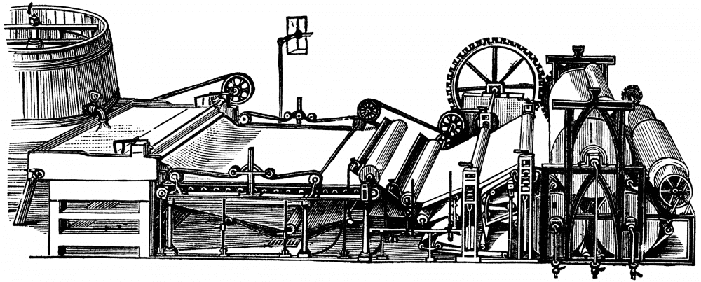 Paper Machine Sketched in Black and White