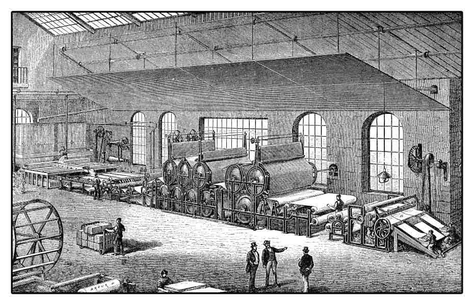 Paper Machine in Factory With Workers Ink Pen Illustration